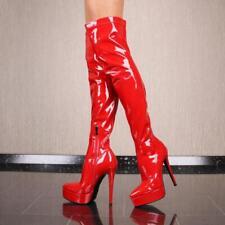 Sexy Damen Plateau Lack Overknee Stiefel Rot #F617-N5321