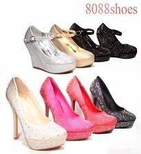 Women's Rhinestone Bridal Stiletto High Heel Platform Wedge Pump Shoes All Size