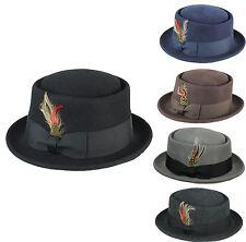 Mens Women Vintage Crushable 100% Wool Pork Pie Breaking Bad Heisenberg Felt Hat