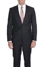 Raphael Mens Slim Fit Solid Black Two Button Wool Suit