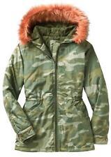 NWT GAP Womens Camouflage Camo Short Parka Jacket Coat Removable Faux Fur Hood
