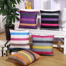 "18"" Rainbow Stripe Sofa Cushion Cover Home Chair Seat Decor Bedroom Pillowcase"