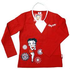 NEU! Betty Boop Langarm Shirt Longsleeve rot Stretch Mit Motiv 128 140 152 164