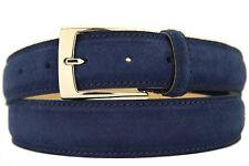 Italienischer Wildledergürtel Herren Damen Suede Belt Blau 3,5cm Breit