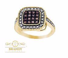 YELLOW SILVER BRANDY DIAMOND CHOCOLATE BROWN CUSHION DESIGNED PAVE RING