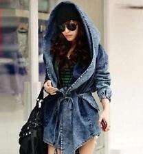 Korean Hooded Retro Women Denim Jean Cloak Trench Coat Leisure Outdoor Jacket