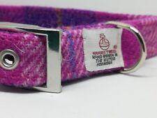 Harris Tweed Pink & Purple check dog collar & lead set Various sizes FREE P&P