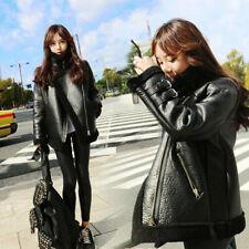 Women's Faux Lamb Fur Leather Shearling Bomber Coats Warm Jacket Parka Oversize