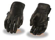 Ladies Naked Cowhide Gel 1/2 Gauntlet Motorcycle Glove Light Lined w/ Gel Palm