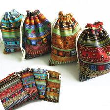 3Pcs 9.5x12cm Linen Bunt Tribal Tribe Drawstring Jewellery Gift Bags Pouches JG