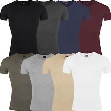 Nouveau Homme Slim T Shirt Col V à manches courtes Muscle Gym Uni Coton Top Lot
