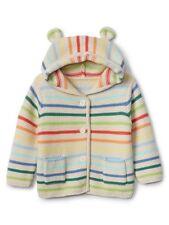 Baby Gap NWT Crazy Stripe Bear Hoodie Cardigan Sweater 0-3-6 12-18-24 Months $35