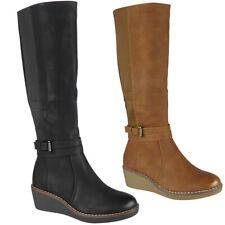 Womens Wedge Boots Ladies Zip Biker Rider Rain Winter Mid Calf Gusset Shoes Size