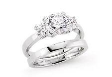 Conjunto De Novia tres Piedra Anillo De Compromiso Liso Anillo de bodas de plata esterlina