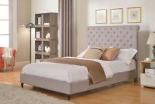 GREY SILVER Upholstered  Linen Platform Bed Frame & Slats Modern Home ALL SIZES