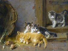 THE WAKE UP CALL cats kittens J. Adam Tile Mural Backsplash Art Marble Ceramic