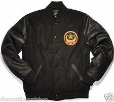 Obey CRESCENT MOON VARSITY Black Yellow Red Patch Coat Men's Jacket