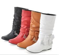 Sexy Womens Diamante Detachable BowTie Slouchy Mid Calf Boots Shoes Plus Size FE