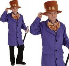 bambini FABBRICA DI CIOCCOLATO PROPRIETARIO Costume Wonka COMPLETO NUOVO FS