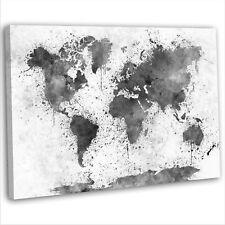 Mapa del mundo abstracto acuarela impresión enmarcado de LONA pared arte Foto Blanco Y Negro