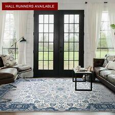 Large Floor Rugs Runner Navy Blue Ivory Distressed Persian Print Carpet 5 Sizes