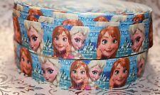 "7/8"" Disney Frozen Anna Elsa Grosgrain Ribbon By The Yard Usa Seller Hair Bows"