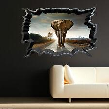 Full Colour Elefante Africano Animale Selvatico Room Wall Art Sticker Decalcomania Di Trasferimento