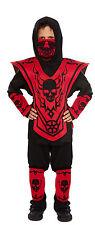 Ninja Kämpfer Kostüm rot/schwarz Alter 4-10 Jahre Gr. S/M/L