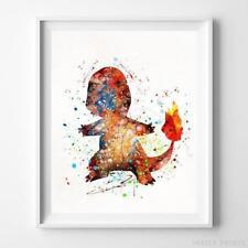 Charmander Pokemon Wall Decor Watercolor Poster Baby Shower Gift UNFRAMED