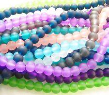 Glasperlen Kugel 8mm matt gefrostet 50~52 Stück Farbauswahl SERAJOSY Beads