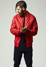 Urban Classics Herren Lederjacke Rocker Clubwear Leder Stepp Jacke rot Diamond
