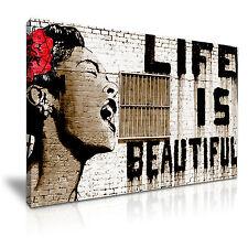 Banksy LIFE IS BEAUTIFUL Graffiti ARTE MODERNA STAMPA TELA incorniciato casella ~ 1pc