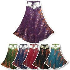Peasant Boho Hippie Crochet Waist Floral Print Crinkle Rayon Long Skirt  N2042X