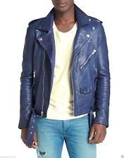 Mens Leather Brando Jacket Biker Classic Motorbike Motorcycle Vintage Perfecto S