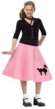 50's Poodle Skirt Child Costume Girls Retro Sequins Black Pink Soda Pop New