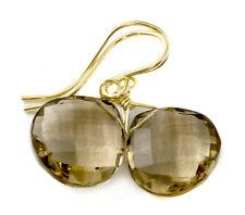 Smoky Quartz Earrings Faceted Heart Teardrops Smokey Gray simple French Earwires