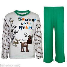 """Kids Girls """"SANTA'S LITTLE HELPER"""" Christmas Pyjamas Reindeer Rudolph PJ's 1-8 Y"""
