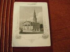 1850 USA NEW YORK  BROADWAY  ST PAUL'S CHAPEL  LOWER MANHATTAN ANTIQUE PRINT