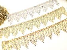 11''Rhinestone Boarder Chain Tassels Trims Diamante Sewing Applique Fringe Edgin