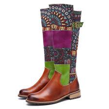 Damen Leder die Kniehoch Flache Stiefel Vintage Schlupfstiefel Schuhe Patchwork