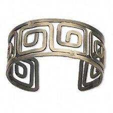 Brass Cuff Bracelet Greek Key Design Antiqued Steampunk