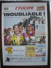 """Affiche (40x56) Une de """"L'EQUIPE""""/ 24.7.1989 (fac-simile) VELO, LEMOND vs FIGNON"""