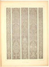 Stampa antica stile arabo RIVESTIMENTI MURALI 1885 Old Print Arabian Style