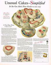 1920's BIG VINTAGE Gold Medal Flour CEJ Cakes Art Kitchen Decor Print AD