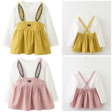 Manica lunga Carino orecchie di coniglio Neonato Principessa Ragazze Dress Party bambini vestiti