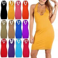 Womens Ladies Plain Tie Back Halter Back Sleeveless Pencil Bodycon Mini Dress