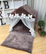 New Pink/Brown Princess Handmade Pet Dog Cat Bed House Tent Sofa 2 Mat Cushion M