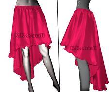 D Pink Satin High Low Skirt Asymmetrical Skirt Girls Gothic belly dance Skirt S6