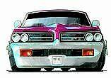 Pontiac GTO Cartoon t-shirt 1964 1965 1966 1967 tempest sizes S-3XL