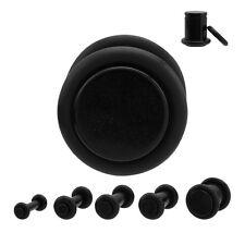 Piercing plug (ecarteur expander) en acrylique noir de 1.6 mm à 10 mm